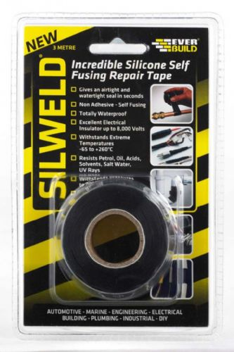 Everbuild Silweld Incredible Silicone Self Fusing Repair Tape- Black - 3metre